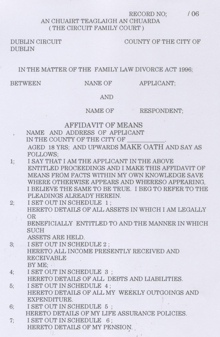 Unmarried And Separated Parents Of Ireland Court Documents